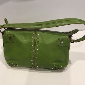 Michael Kors green small size stud shoulder bag.